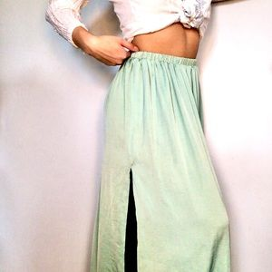 Zara Trafaluc Mint Green Maxi Skirt